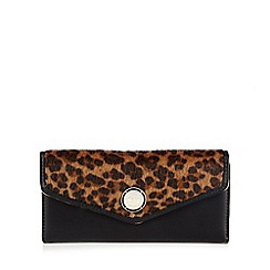 Star by Julien Macdonald - Black faux fur leopard print envelope purse