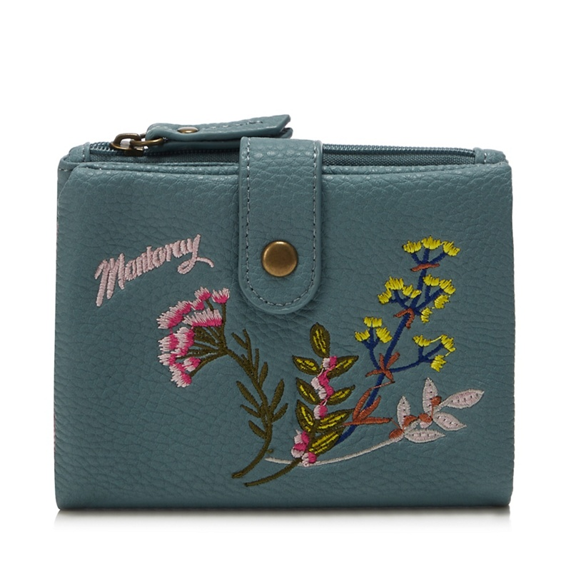 Mantaray Turquoise Floral Embroidered Large Purse - One Size - Purses (9105933 5045481251713) photo