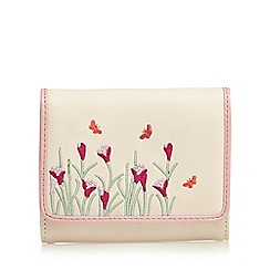 The Collection - Cream butterfly embroidered medium purse