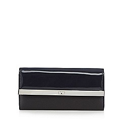 The Collection - Black patent metal bar fold over purse