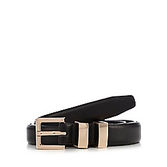 The Collection - Black metal keeper skinny belt