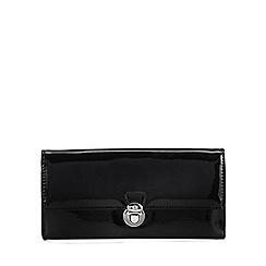 The Collection - Black patent push lock large purse