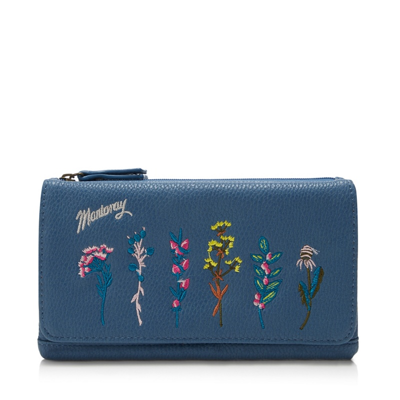 Mantaray Blue Floral Embroidered Large Purse - One Size - Purses (9109208 5045481284469) photo