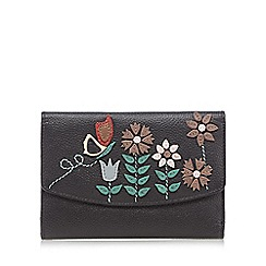 The Collection - Black butterfly floral applique purse