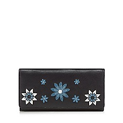 The Collection - Black leather floral large purse