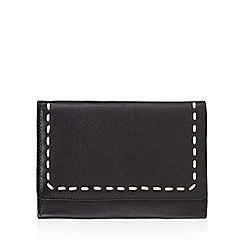 The Collection - Black leather stitched flapover purse