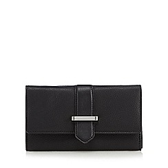 The Collection - Black leather metal bar tab purse