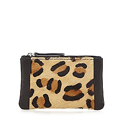 The Collection - Black leather leopard print coin purse