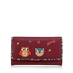 Mantaray - Dark pink large owl and hedgehog fold over purse