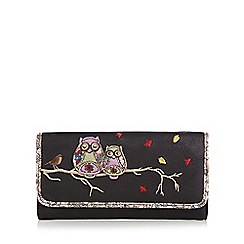 Mantaray - Black applique owls large purse