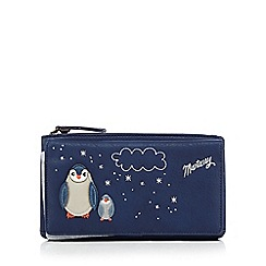 Mantaray - Navy applique penguins large purse