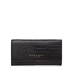 Bailey & Quinn - Black leather mock croc fold over wallet