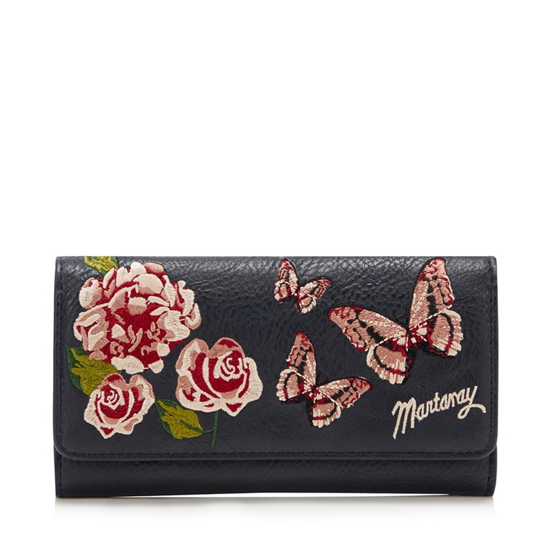 Mantaray Navy Butterfly Embroidery Large Purse - One Size - Purses (9114380 5045481336182) photo