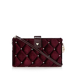 Floozie by Frost French - Purple velour diamante studded cross body bag