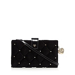 Floozie by Frost French - Black velour diamante studded cross-body bag