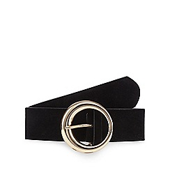 Red Herring - Black suedette round buckle belt