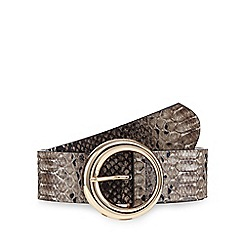 Red Herring - Black snakeskin-effect round buckle belt