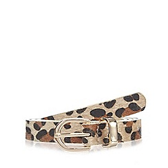 Red Herring - Natural faux pony hair leopard belt