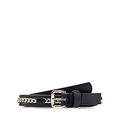 Red Herring - Black chain insert skinny belt
