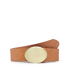 Red Herring - Tan faux snakeskin oval buckle belt