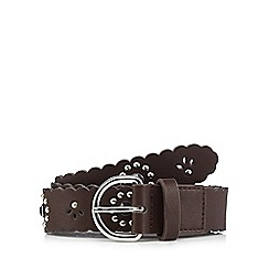 Mantaray - Brown studded floral belt