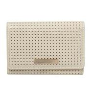 Designer Cream Perforated Spot Purse