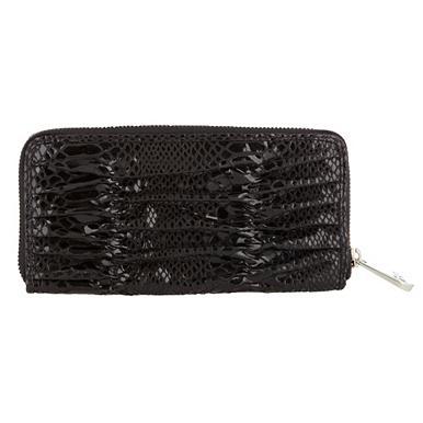 Gerafftes Designer-Portemonnaie aus Schlangenlederimitat, schwarz