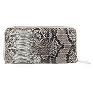 Designer Grey Ruched Faux Snakeskin Purse