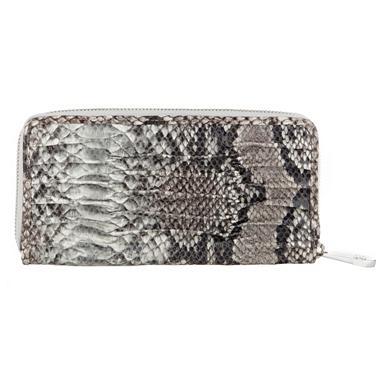 Gerafftes Designer-Portemonnaie aus Schlangenlederimitat, grau