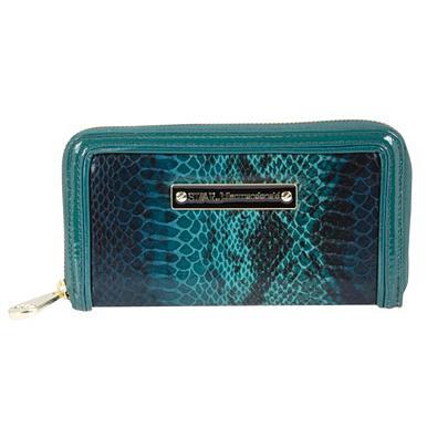 Designer-Portemonnaie mit Rundum-Reißverschluss, dunkeltürkis