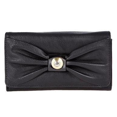 Designer-Portemonnaie mit Schleife, schwarz