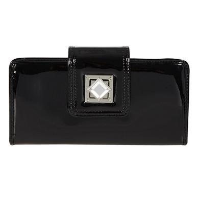 Designer-Portemonnaie mit Strass und Drehverschluss, schwarz
