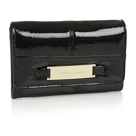 J by Jasper Conran - Designer black patent flap over purse
