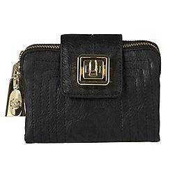 Mischa Barton - Black stitch twist flapover purse