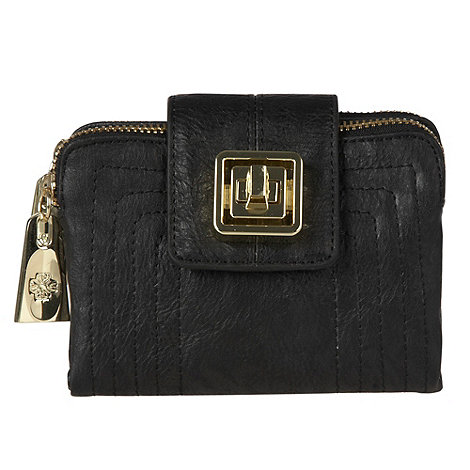 Mischa Barton - Black stitch twist flapover purse