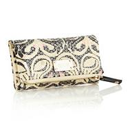 Designer Cream Sequinned Swan Patterned Purse