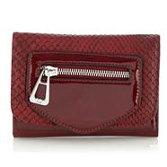 Designer Red Mock Snakeskin Flapover Purse
