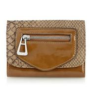 Designer Natural Mock Snakeskin Flapover Purse