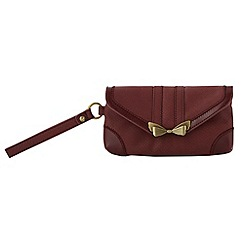 Nica - Dark red bow clasp envelope purse