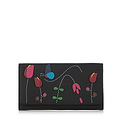 The Collection - Black butterfly and flower applique large flapover purse