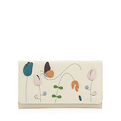 The Collection - Cream butterfly applique floral print flap over purse