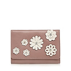 The Collection - Pink leather floral applique medium flap over purse