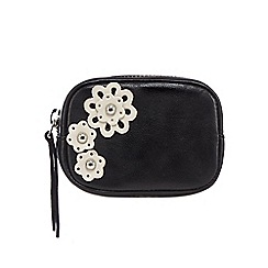 The Collection - Black leather floral applique coin purse