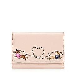 The Collection - Light pink sausage dog love applique medium flap over purse