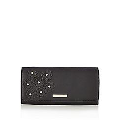 The Collection - Black floral applique large flap over purse