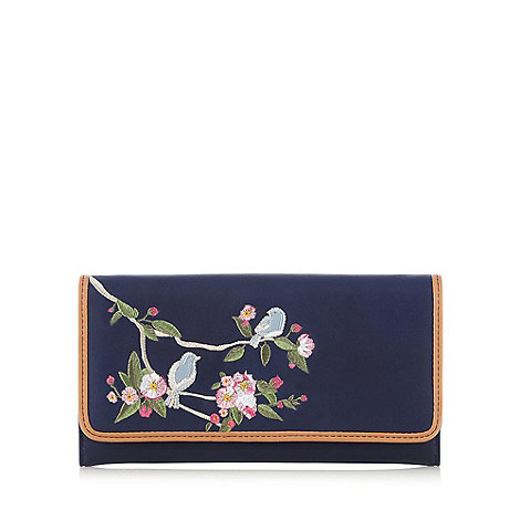 The Collection - Navy bird and floral embroidered purse