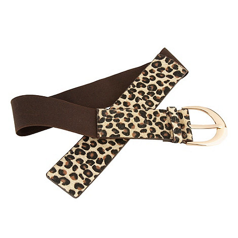 The Collection - Chocolate brown elasticated leopard printed waist belt