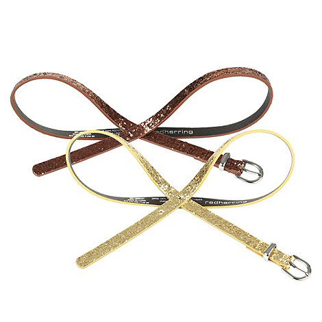 Red Herring - Set of two gold and brown glitter belts