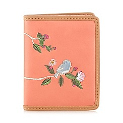 The Collection - Orange bird and floral embroidered purse