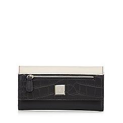 The Collection - Black colour block croc-effect large purse